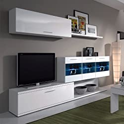 Habitdesign 026676BO, Mueble de salón para TV, color blanco