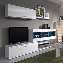 Habitdesign 026676BO, Mueble de salón para TV, color blanco