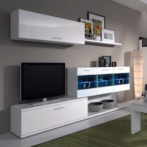 Alessia–Aral Vetro salón TV gabinete–blanco brillante–(155x 42,5x 12,7)