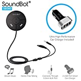 Automotive Battery Charger Best Deals - SoundBot SB360 Bluetooth 4.0 Car Kit Hands-Free Wireless Talking & Music Streaming Dongle w/ 10W Dual Port 2.1A USB Charger + Magnetic Mounts + Built-in 3.5mm Aux Cable