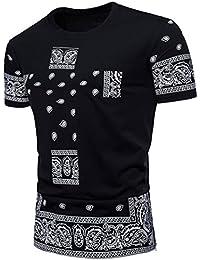 Men's T-Shirts Sonnena Fashion Hiphop Men's Casual Slim Short Sleeve Printed T Shirt Top Blouse (XL, Black)