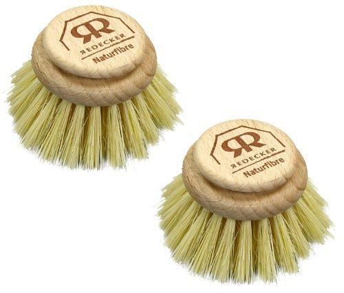 Tête de rechange pour brosse en poils naturels-Large-Brosse à vaisselle Fibre végétales rigide (Pack de 2)