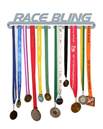 The Medal Hanger Shop 'Race Bling' Medaille Aufhänger Display Halter Edelstahl gebürstet–Made in Großbritannien - Aufhänger Race-medaille