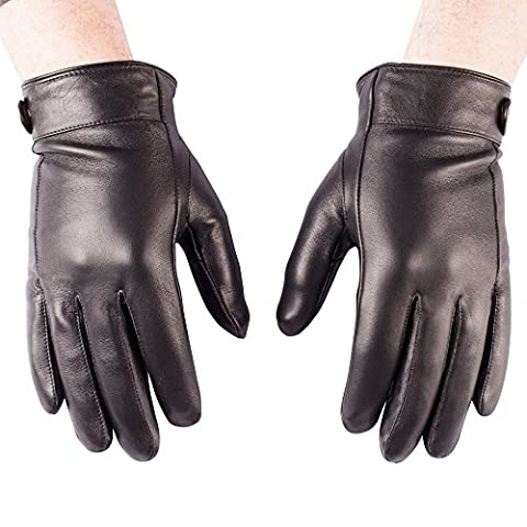 GLV239;XL-Men's Black Real Leather Gloves with Cuff Detail