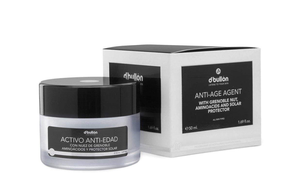 D´Bullón Crema facial Activo Anti-Edad con Nuez de Grenoble, Aminoácidos y Protección Solar, Todo Tipo de Piel – 50 ml