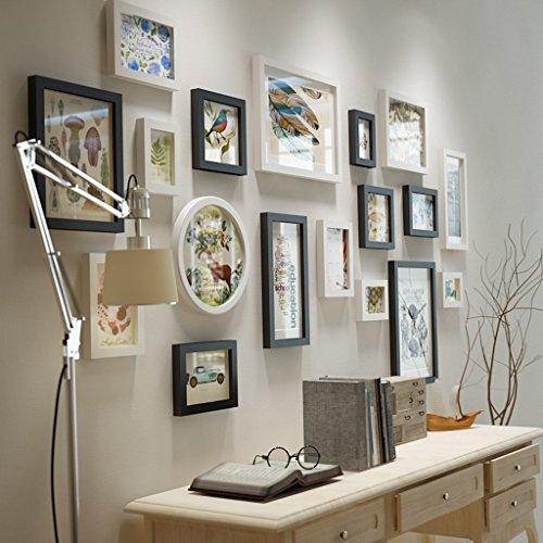 Cadres photo en bois de pin, mur de photo de fond de combinaison de cadres photo/avec des images/thème peint à la main, ensemble de 18 cadres @The harvest season (Couleur : White+black)