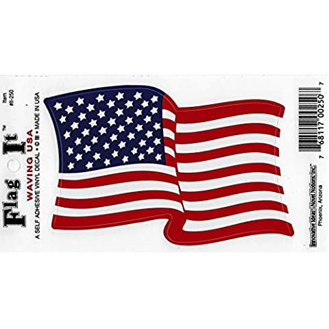 Usa Waving Flag Decal For Auto, Truck Or Boat - 3.5