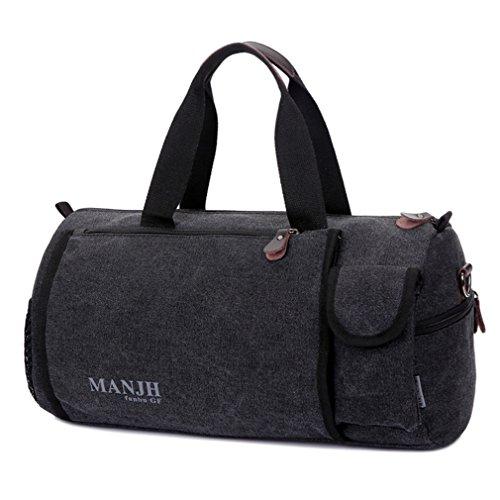 Canvas Reisetasche klein herren Wochenend-Reisetasche für 2-3 Tage Reise-Qualitäts-Camping Messenger Tasche Mehrzweck Sporty Gear Handag (Khaki) Schwarz