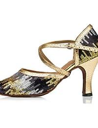 shangyi adaptable–Stiletto–ante/piel sintética–Latin/–Zapatillas de danza para mujer Dorado dorado Talla:us8 / eu39 / uk6 / cn39