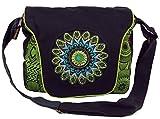 Schultertasche, Hippie Tasche, Goa Tasche, Umhängetasche, Damentasche - schwarz/grün / Schultertaschen