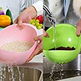 Slings Rice Pulses Fruits Vegetable Noodles Pasta Washing Bowl & Strainer Cum Fruit Basket Set Of 2 (Color May Vary)