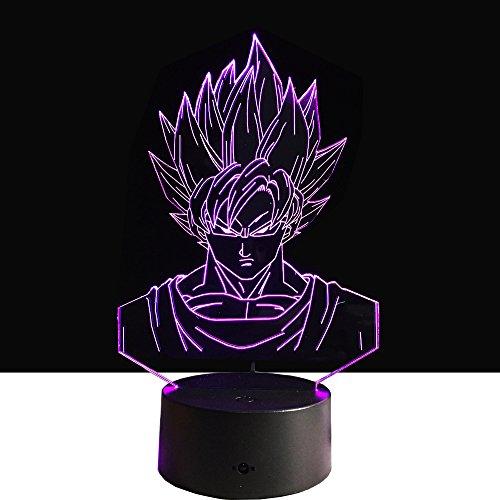Lampe Rote Base (3D Optical Illusion LED Nachtlicht, Hi-azul 7-Farben ändern Touch Tisch Schreibtisch Lampe Deko Lampe mit Acryl Platte & ABS Base & USB Ladegerät für Geschenke (Dragon Ball 4))
