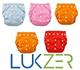 #10: LUKZER Reusable New Adjustable (for all sizes) Baby Washable Cloth Diaper Nappies Pack Of 2 With 4 Diaper Liners (Inner Cloths) for Babies of Ages 0 to 2 years, Random Color