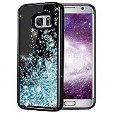 KOUYI Galaxy S7 Hülle Glitzer, Luxus Fließen Flüssig Glitzer Mode 3D Bling Dynamisch Silikon Flexible TPU Kreativ Shiny Glitter Cover Beschützer für Samsung Galaxy S7 (Silberblau)