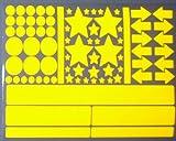 easydruck24de Aufkleber-Set Sterne Kreise Pfeile Streifen I gelb, selbstklebend I Bogen 30 x 20 cm I für Fahrrad-Helm Auto Kinderwagen draußen I reflex_003