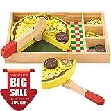 KIDS TOYLAND Holz Pizza Spielen Lebensmittel Set für Kinder, Rollenspiel Pizza Party mit 12 Beläge
