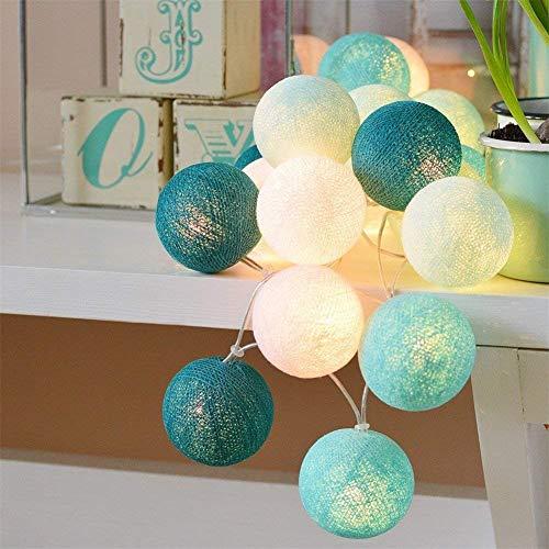LED Lichterketten Innen batteriebetrieben - 3,5M 20 Stück Cotton Ball Lichterketten Xmas Wandleuchte Kugel Weihnachtsbeleuchtung Weihnachtsdekoration für Hochzeitsfeier, Zimmer, Home, Party -