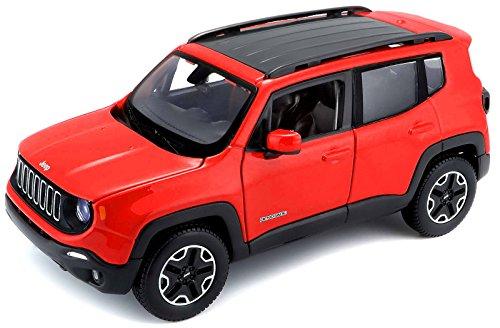 Maisto Jeep Renegade: Originalgetreues Modellauto 1:24, Türen und Motorhaube zum Öffnen, Fertigmodell, 20 cm, rot (531282)