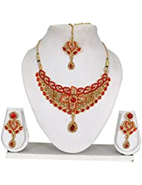 Vipin Store Golden & Red Color Kundan & Stone Gold Plated Jewelery Set - B078Y1G7R9