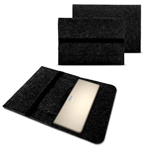 Tasche Hülle für Laptop Case Ultrabook Cover Notebook 15 - 15.6 Zoll Filz Sleeve Schutzhülle Bag aus strapazierfähigem Filz in Grau mit Innentaschen und sicheren Verschluss von NAUC, Farben:Dunkel Grau, Notebook:Fujitsu Celsius H760