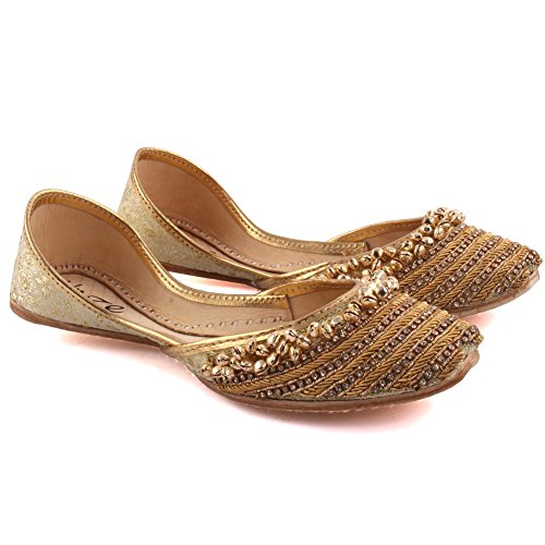 Unze Signore delle donne tradizionale Videha doppio tono ricamo indiano casual scarpe di cuoio piatto Khussa Pantofole FORMATO BRITANNICO 3-8 Oro