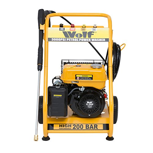 WOLF 200 BAR, 3000psi, 6.5HP Heavy Duty Petrol Driven Pressure Power Washer – Full Spares & Service Support – Kit Includes Gun, Lance, 4 Quick Fit Nozzles and 6m High Pressure Hose – 2 YEAR WARRANTY