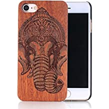 Sunroyal® Madera Shell Funda Cover Apple iPhone 5 5S Caso Retro Madera Cubierta Caja de Bambú Premium Trasera Dura Contraportada Patrón Pattern Lujo Carcasa Hecho a Mano Funda Protección Wood Case Caja Business de Madera de Bambú Natural- (Elefante)