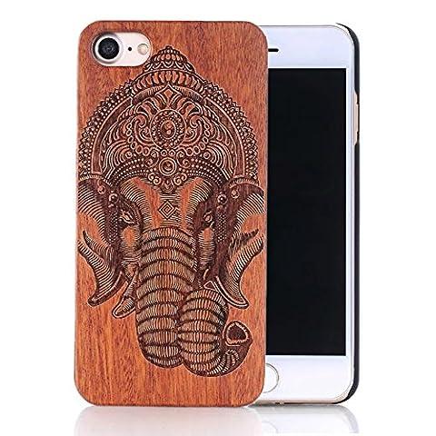 Coque iPhone 5s, Sunroyal® Coque pour iPhone 5 Bois Véritable + PC Bumper Dur Hard Housse Etui Hybride en Bois Naturel Sculpté Wood Case Cover de Protection pour Apple iPhone 5, iPhone 5S – Eléphant