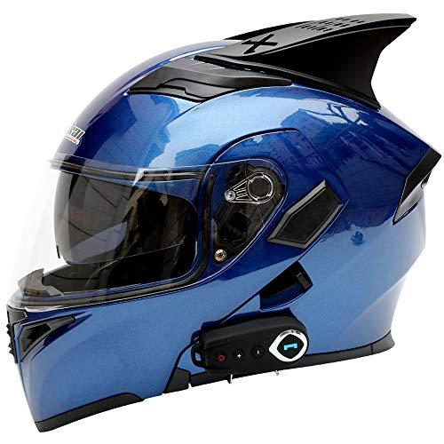 WLJBY Casco Moto Bluetooth Smart con Doppia Visiera, Anti-Nebbia, D.O.T Cuffia Integrata con Visiera Aperta Caschi di Sicurezza con Protezione Frontale,L