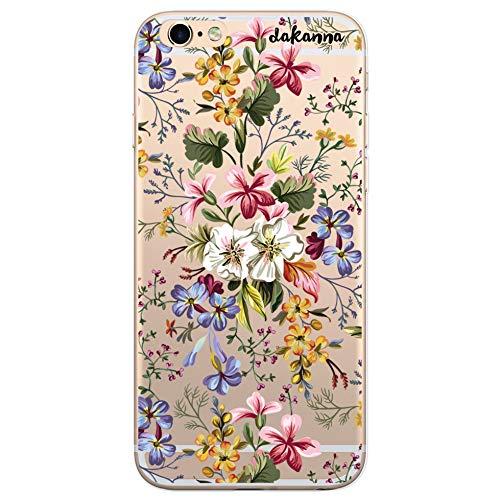 dakanna Kompatibel mit [iPhone 6 Plus - 6S Plus] Flexible Silikon-Handy-Hülle [Transparenter Hintergrund] Blumen Bouquet Design, TPU Case Cover Schutzhülle für Dein Smartphone (Iphone Durch Case 6 Flower Sehen)
