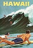 Hawaii surf waves urlaub schild aus blech, metal sign, deko schild
