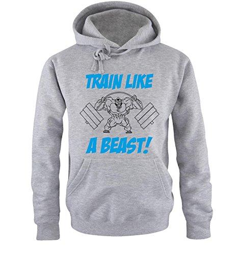 Comedy Shirts - TRAIN LIKE A BEAST! - Uomo Hoodie cappuccio sweater - taglia S-XXL different colors grigio / nero-blu