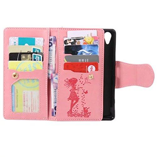 Solid Color PU-Leder-Etui geprägt Drücken von Katze und Mädchen mit 9-Karten-Slots & Handschlaufe Flip Stand Case Case für Sony Xpeira XP ( Color : 3 , Size : Sony Xpeira XP ) 2