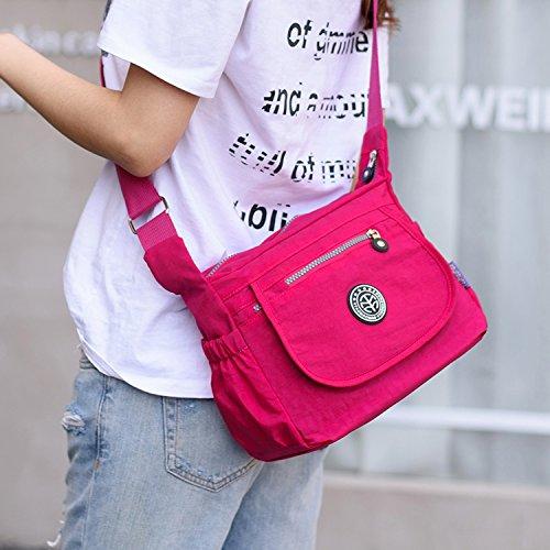 Outreo Umhängetasche Damen Taschen Designer Messenger Bag Wasserdicht Schultertasche Mode Kuriertasche Leichter Reisetasche Lässige Schwarz