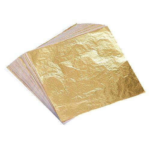 100 Blätter Imitation Blattgold für Kunst, Vergoldung Handwerk, Dekoration, 14 mal 14 cm