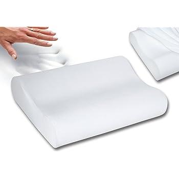 "Qualimate Contour Cervical Orthopedic Memory Foam Pillow Memory Pillow, Memory Pillows for Sleeping, Memory Pillow for Neck, Memory Pillow Cover - 19.5""x 11.5"" x 4"", White"