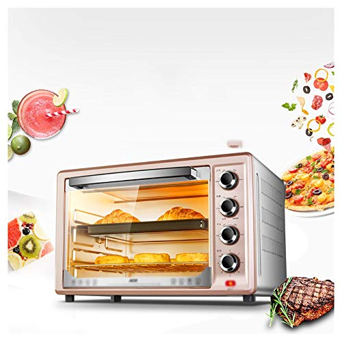 QPSGB Öfen-schnelle Heizung Toaster Öfen mit Timer-Rack-Klein genug für die Verwendung auf dem Tisch - 1700 W (braun) Mini-Ofen-Elektrogrill - Backöfen (Schnelle Toaster Ofen)