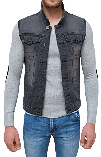 pick up bcc24 d9491 Evoga Giubbotto Smanicato di Jeans Uomo Nero Denim Cardigan ...
