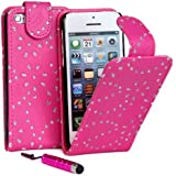 Connect Zone� Pink Diamond Bling PU Leather Flip Case Cover For iPhone 5C + Screen Protector & Polishing Cloth & Mini Touch Screen Stylus