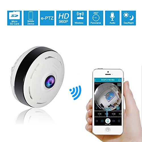 Hiseeu 360 Grad Überwachungskamera Fisheye IP Kamera 960P Mini Panorama Kameras Netzwerk Home Security WiFi Kamera mit Vollansicht/IR Nachtsicht /2 Weg Audio/Bewegungsmelder für Haus /Baby Überwachung