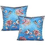 Coucoland Kissenbezüge für Couch Bett Sofa Retro Dekorative Zierkissenbezüge Floral Kissenbezüge Set von 2 Vintage Blumen und Vogel Dekokissen Covers 50x50 cm (Blau)