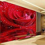 FSKJBZ 3D Personnalisé Taille Rouge Rose Peinture Murale Art Moderne Peinture Murale Papier Peint pour Salon Photo Papier Peint -250Cmx175Cm @ 200cmx140cm
