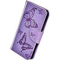 Herbests Compatible con Huawei P Smart 2019 Funda, Flip Case Funda con Tapa Estuche de Cuero Cartera en Relieve Mariposa con Cierre Magnético Soporte Plegable Color Puro Cover,Púrpura
