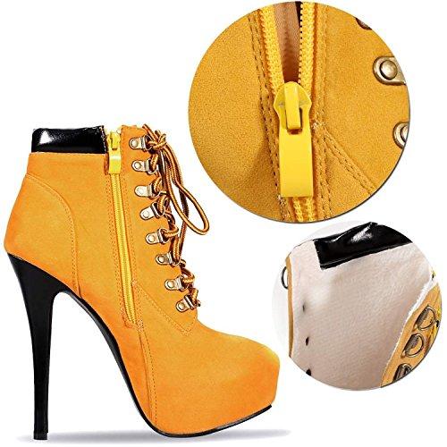 Minetom Femme 2015 Rétro Sexy Lace Up Escarpins Bottes Chaussures À Talons Hauts Boots Brun