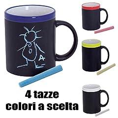 Idea Regalo - Subito disponibile 4 PEZZI Tazza lavagna in ceramica e ardesia con gesetto