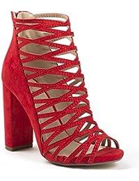 Ideal Shoes - Sandales effet daim à talon épais et multibrides Gaia