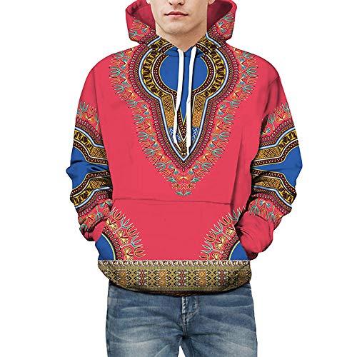 Aoogo Herren Langarm Sweatshirt, Paar Kleidung Größe Herbst Winter Mode Ethnische 3D Print Langarm Hoodie Party Warm Top