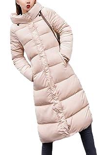 Daysing Damen Winterjacke Warmer Mantel-Standplatz Parka Lose Hals Dicker Jacken Einfarbig Oversize Daunenjacke Steppjacke Lange Zipper Kapuzenjacke Mode Elegant Coat