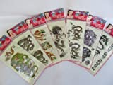 5x Sheets Mens Boys Mens Large Black Celtic Chinese Dragon & Tiger style Temporary Tattoos for parties, gifts, etc - by Fat-Catz-copy-catz