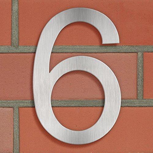 TecTake Hausnummer Hausnummern Zimmernummer aus 18/8 Edelstahl 20 cm -0 bis 9- (6) - 2
